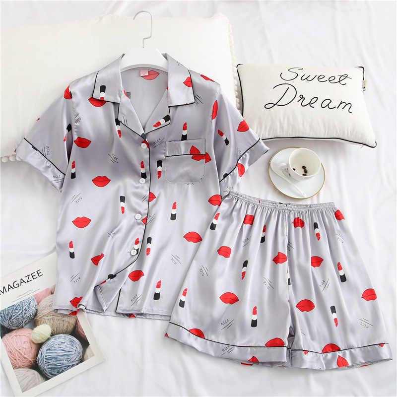 Obiekt pentahotel hong kong, nadwyżki drukuj Satin piżamy ustawić na co dzień odzież do snu spodenki zestawy z krótkim rękawem Cute cartoon bielizna nocna kobiety homewear