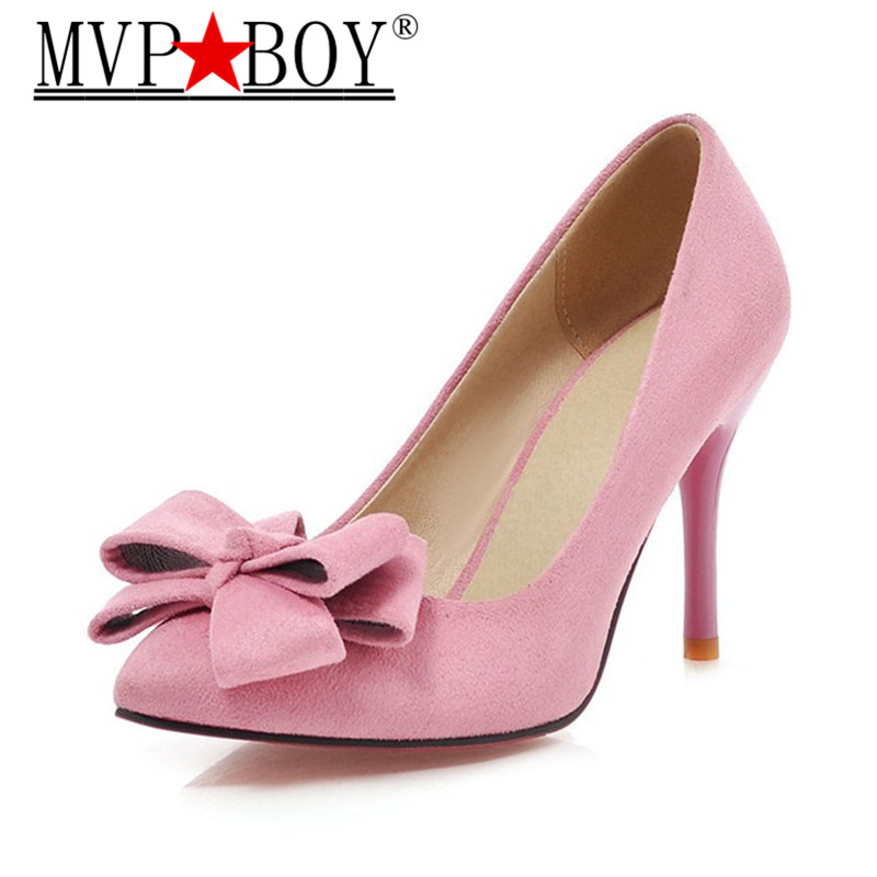 MVP BOY Latest Shoes Women Pumps Spring Pointed Toe Basic Party Thin High Heels Bow Ladies Shoes Pink Black Large Size 43