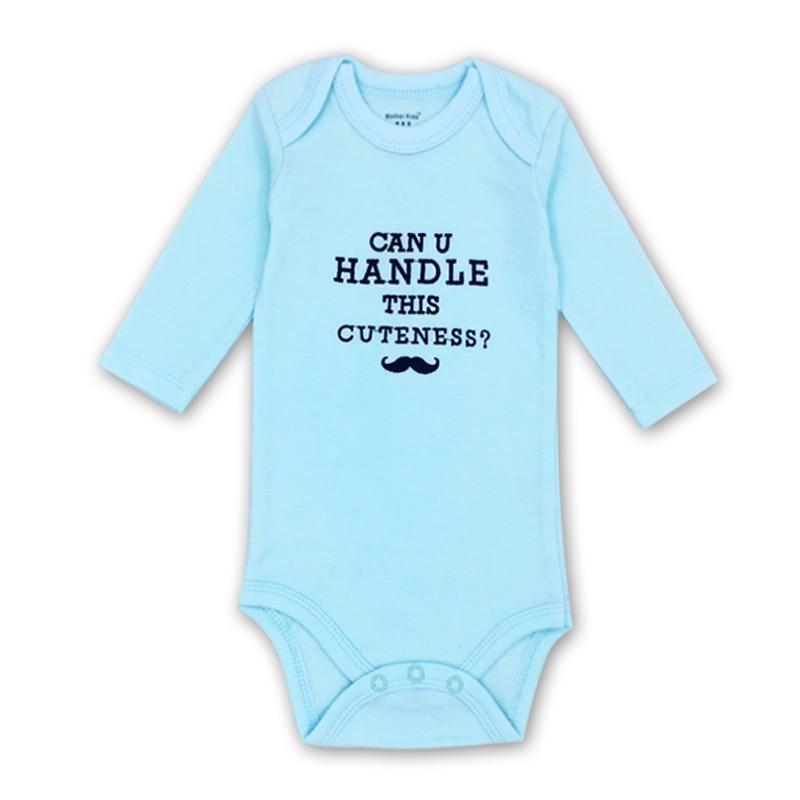 2018 новый для новорожденных Одежда для маленьких мальчиков комбинезон с длинными рукавами 0-24 м с вышивкой с надписями;