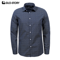 GLO STORY Men S Long Sleeve Plus Size Shirt Men Cotton Slim Fit Fashion Camisate Masculina