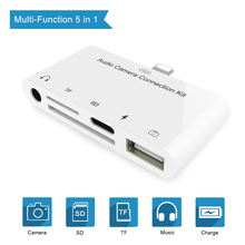 5 In 1 Camera Connection Kits For Lightning to SD TF Card Reader,USB 3 Camera Adapter,3.5mm Headphone Jack,Charge For Lightning цена
