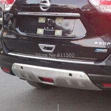 For Nissan X-TRAIL 2014-2017 Stainless Steel Front Back Protector With One Hole Decoration Cover Bumper Auto Accessories 2pcs