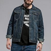 2019 Autumn New Denim Jacket Fashion Mens Large Size Jacket Plus Fertilizer XL Loose Comfortable Jacket Male