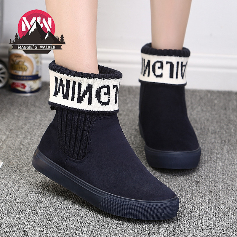 Women Snow Boots 2016 Winter Flock Plush Flat Shoes Short Warm Platform Shoes Ankle Boots For Woman Student flat with bow ankle boots shoes style women boots round toe platform snow boots for women fashion flock short outdoor shoes