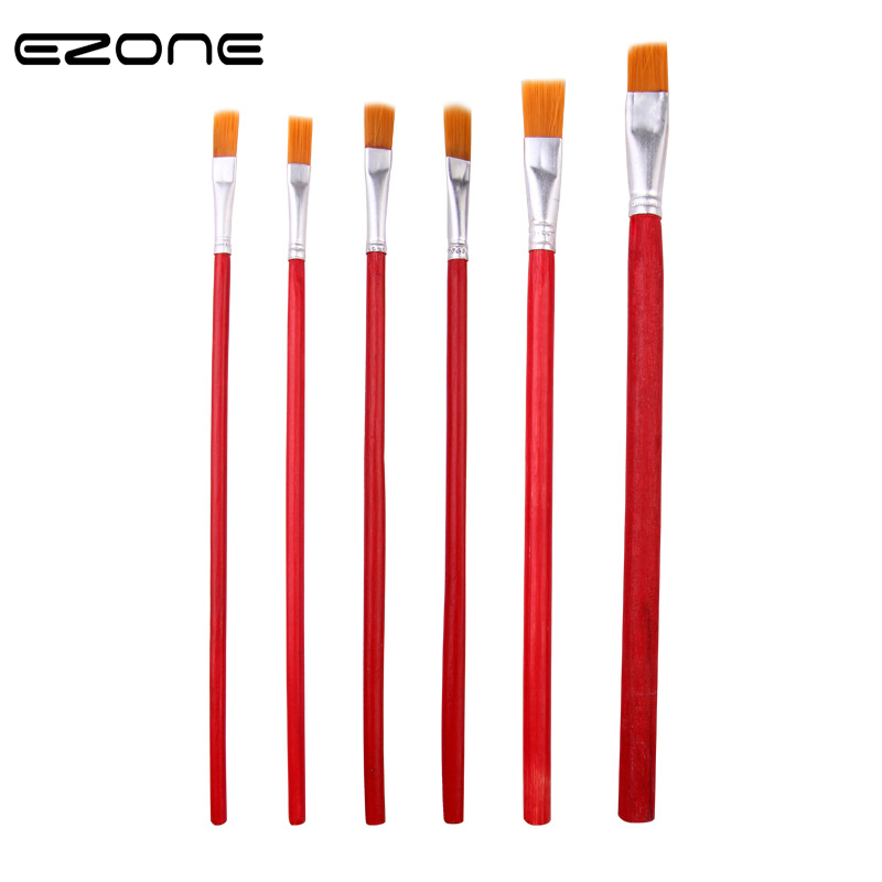 EZONE 6Pcs/Set New Red Painting Brush Oil Painting Pens Rod Nylon Hair Art Painting Tool Flat Brush School Supplies Papelaria
