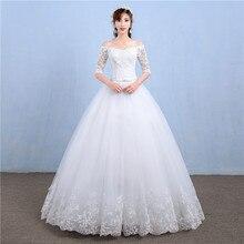 أنيقة قارب الرقبة نصف كم الدانتيل 2020 فستان زفاف جديد زين منظور مخصص حجم كبير ثوب زفاف Casamento L
