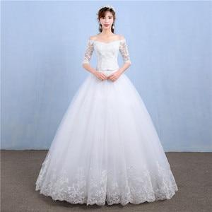 Image 1 - أنيقة قارب الرقبة نصف كم الدانتيل 2020 فستان زفاف جديد زين منظور مخصص حجم كبير ثوب زفاف Casamento L