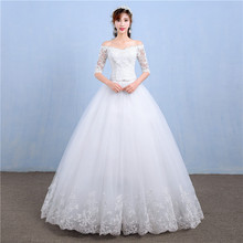 Elegant Boat Neck Half Sleeve Lace 2020 new Wedding Dress Applique Perspective Custom Made Plus Size Wedding Gown Casamento L