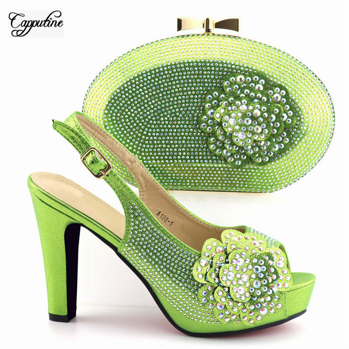 New arrival green evening shoes and purse handbag decorated with luxury stones A198-1 heel height 11.3cmNew arrival green evening shoes and purse handbag decorated with luxury stones A198-1 heel height 11.3cm