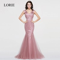 Rhinestones Mermaid Evening Dress LORIE Robe De Soiree Courte 2017 Crystals Sexy Women Rose Pink Long Prom Dresses Formal Party