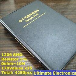 1206 SMD 1% resistencia muestra libro 170values * 25 piezas = 4250 piezas 0ohm a 10 M 1% 1/ 4 W Chip resistencia Kit surtido