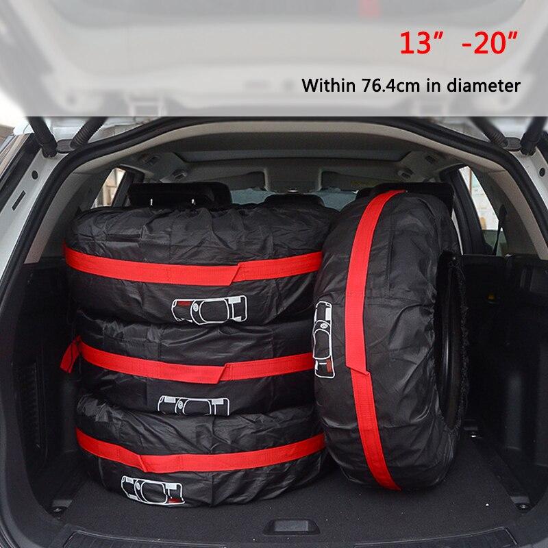 4 unids/lote coche neumático de repuesto cubierta de poliéster de neumáticos de rueda bolsas de almacenamiento neumático del vehículo accesorios polvo Protector a prueba de