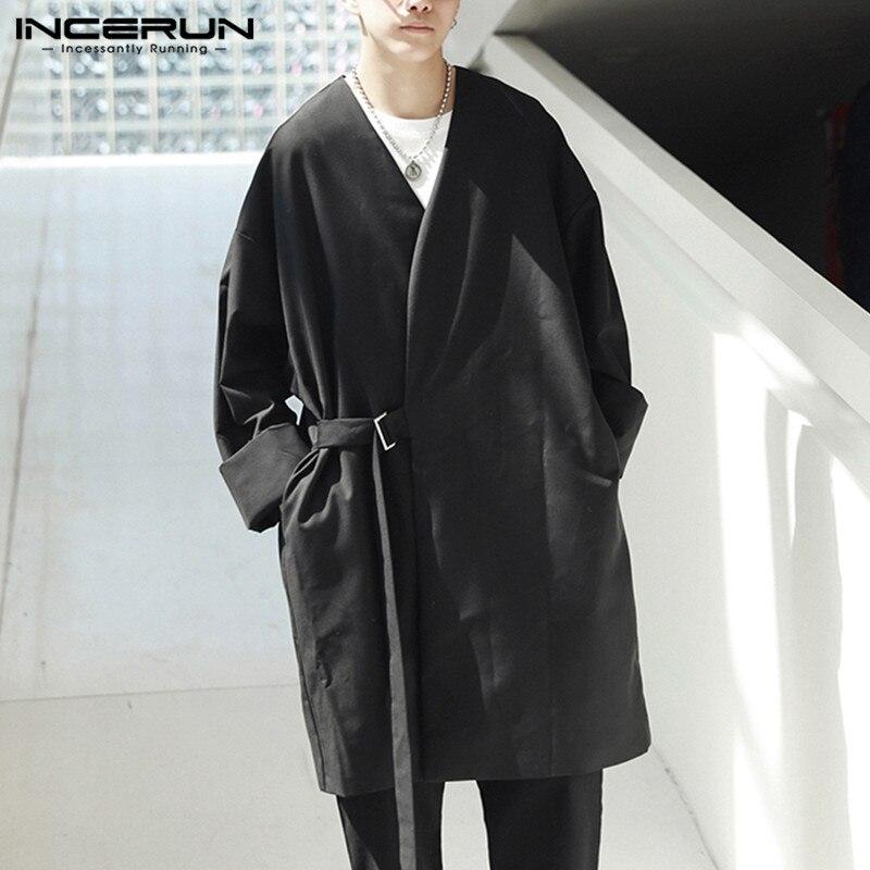 INCERUN 2019 Fashion Punk Style Men Trench Coat Outwear Long Sleeve Loose Kimono Streetwear Solid Couple Jacket Men Windbreaker
