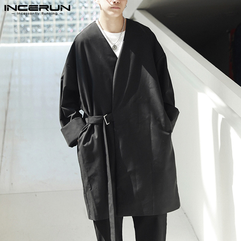 INCERUN 2019 Fashion Punk Style Men   Trench   Coat Outwear Long Sleeve Loose Kimono Streetwear Solid Couple Jacket Men Windbreaker