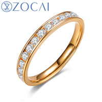 ZOCAI 0.48 CTTW channel setting real diamond wedding ring 18K yellow gold diamond ring jewelry JBW00108