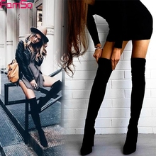 FAMSO Size 34-43 New Shoes Women Boots Black Over the Knee Boots Sexy Female Autumn Winter lady Thigh High Boots SBT3642