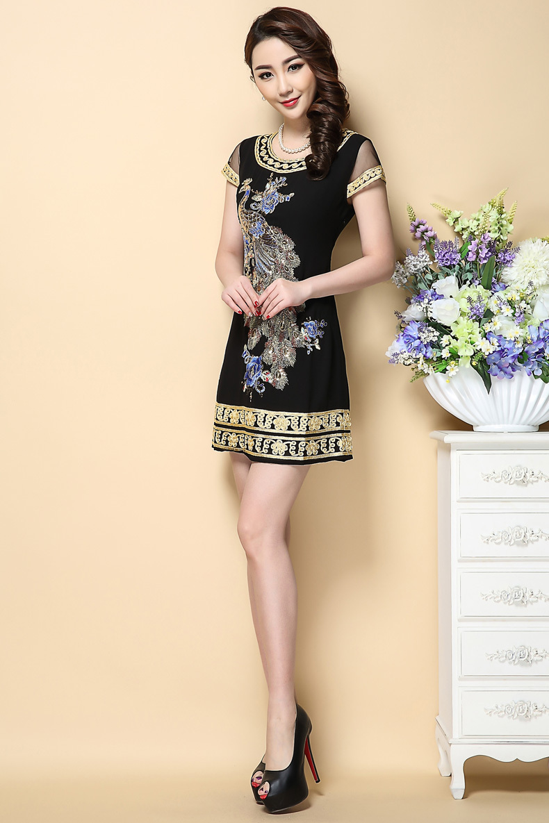 0cf82d80d5 Phoenix embroidered Summer dress 2017 high quality embroidery sequins plus  size 4xl dresses female short black dress women-in Dresses from Women s  Clothing ...