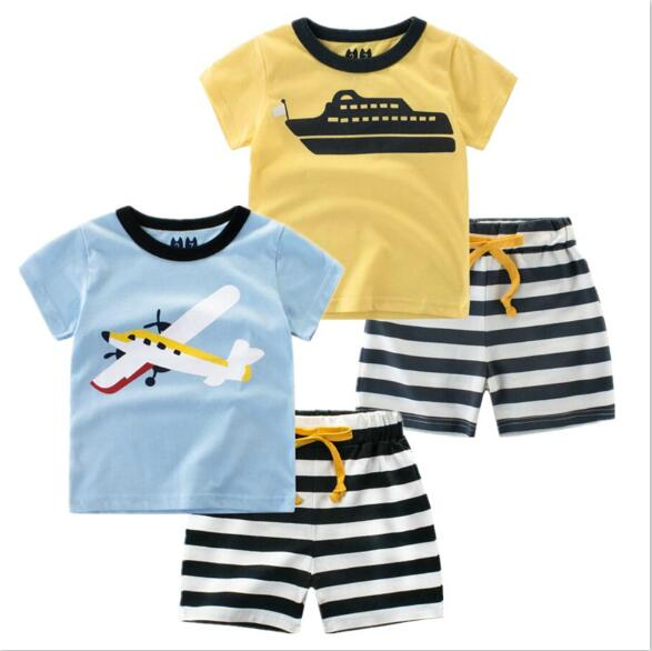 2018 Summer Boy Clothing Set New Children Suit Short Sleeved Two Piece T-shirt+pants Kids Clothes Cartoon Boy Sets