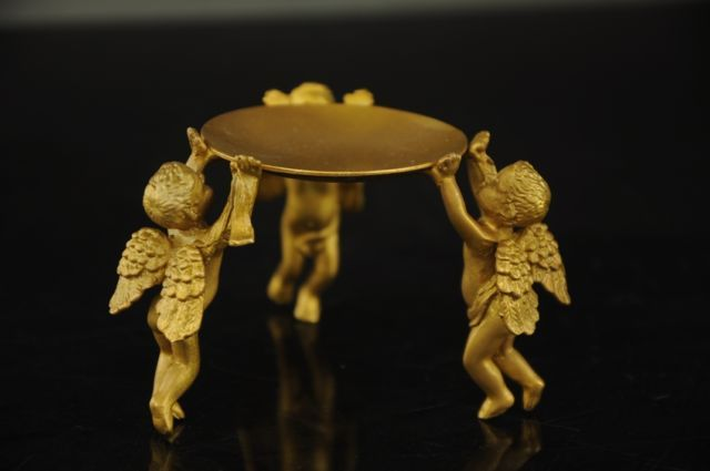 Chinese brass Animal 3 angel oil lamp Candle Holder Candlestick statue mk Sculpture wholesale factory brass Arts