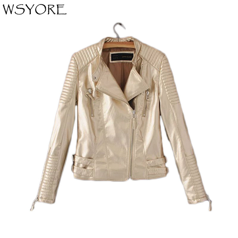 WSYORE Fashion Motorcycle Jacket 2018 New Autumn Winter PU Faux Leather Biker Jackets Women Slim Gold Color Spring Coat NS302