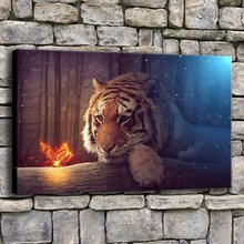 Wall Art Canvas Prints Pictures 1 Piece Fantasy Tiger And Butterfly Painting Living Room Forest Animals Poster Home Decor Frame(China)