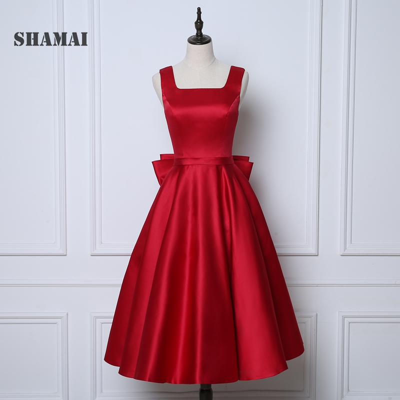 SHAMAI New Cheap Bow Satin Short   Bridesmaid     Dress   Wedding Party Gown A-Line Red   Bridesmaid     Dresses   Gown Homecoming   Dress