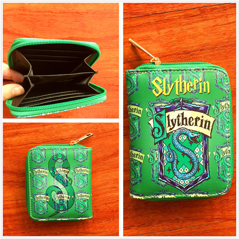 New arrivel anime Harry Potter PU short Wallet with zipper Slytherin card holder purse cartoon magic school W733 new pattern hogg watts magic school school badge quartz pocket watch senior high school student harry potter gift table ds281