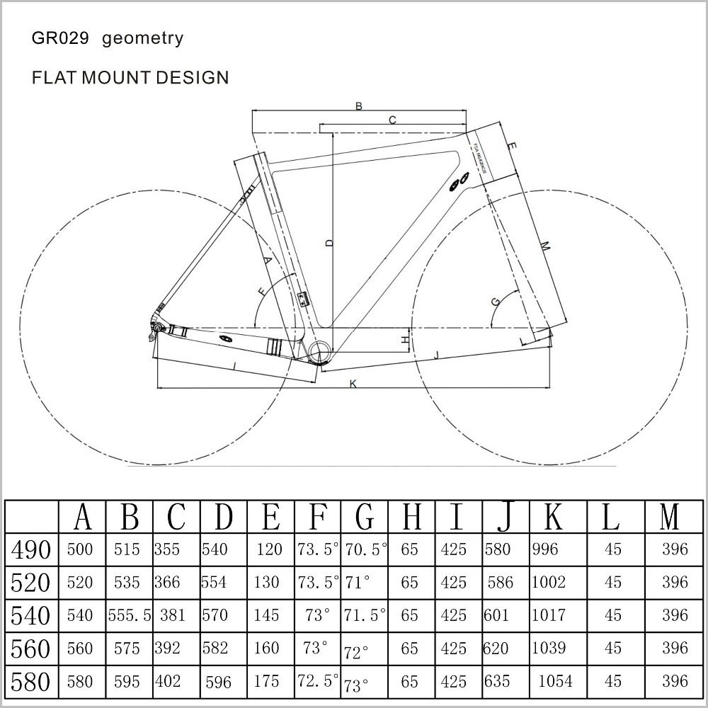 GR029-geometry carbon frame