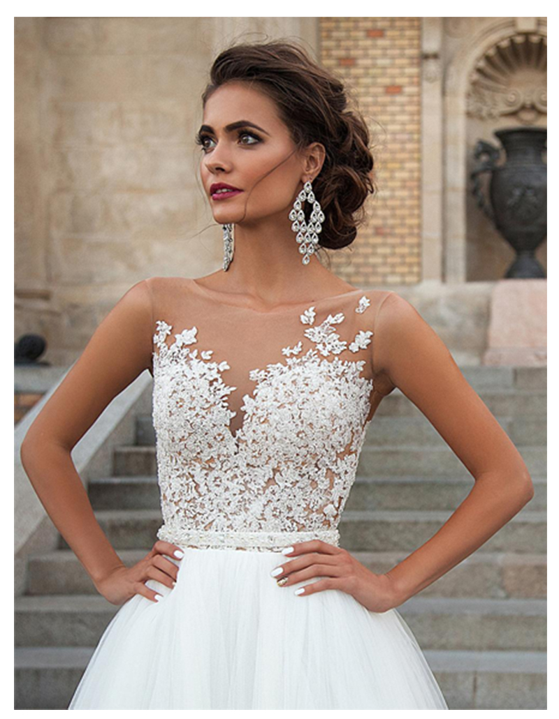 Image 4 - SoDigne Sleeveless Wedding Dress 2019 Beach Bridal Gown Tulle Lace Appliques Wedding Dresses White/Lvory Romantic Buttons-in Wedding Dresses from Weddings & Events