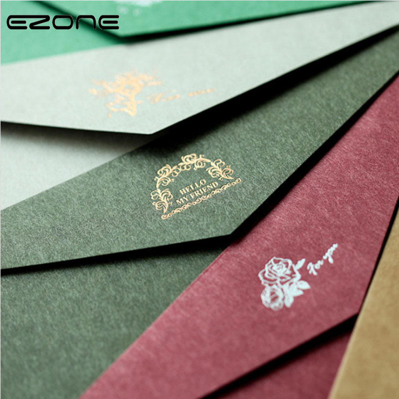 EZONE High-end Business Invitation Envelope Printed Hot Stamping Pattern High Quality Kraft Paper Gift Envelope Wallet Envelope
