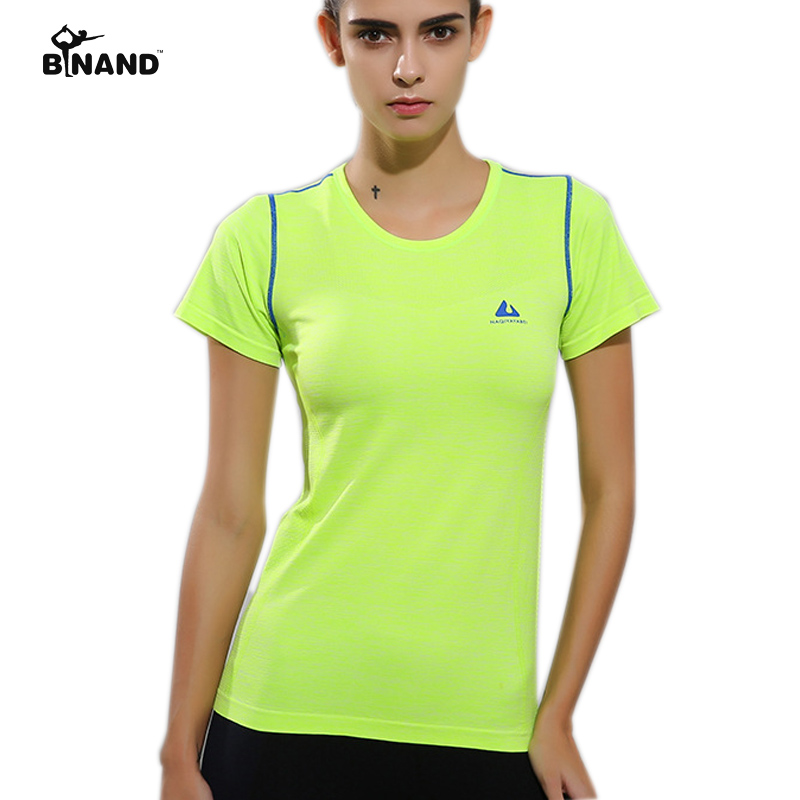 BINAND New Female Summer Spring Short Sleeve Shirts Training Sports Fitness Top High Elastic Running Colourful Strip Yoga Cloths