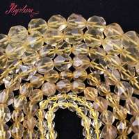 Free Shipping 6 8 10 12mm Nautral Faceted Cube Lemon Quartz Spacer Beads For DIY Necklace