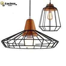 ФОТО nordic led pendant lights home lighting modern hanglamp wooden iron lampshade bedroom kitchen island  lustre e27 pendant lamps