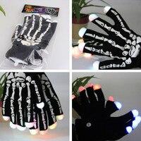5 זוגות\חבילה סגנון החדש LED כפפות אצבעות כפפות שלד ליל כל הקדושים קישוט מסיבת הברקה כהה אור עד צעצוע אספקת ריקוד
