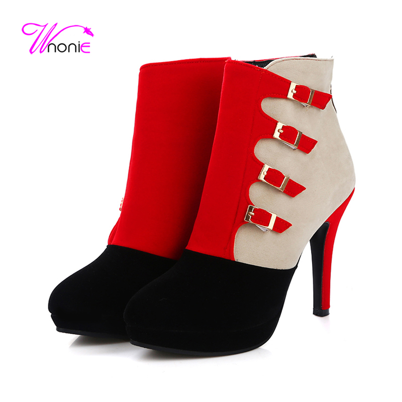 ФОТО 2017 Fashion Woman's Boots Ankle Flock Leather Short Plush Autumn Winter Casual Party Dress Zipper Thin Spike Heel Ladies Shoes