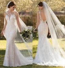 2019 Mermaid Wedding Dresses Elegant Lace Appliques Tulle Bridal Gowns Sheer Scoop Neck sleeveelsss backless vestidos de noiva