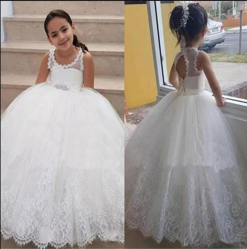 White Soft Lace   Flower     Girl     Dress   For Wedding Lace Up Keyhole Back Sleeveless   Girls   Pageant Gowns New Arrivals Custom Made
