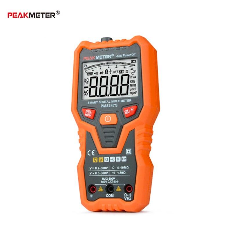 Voltmètre professionnel 600 V de gamme automatique de multimètre numérique intelligent de PEAKMETER PM8247S avec l'appareil de contrôle de contre-jour de fréquence de NCV