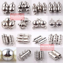 Frete grátis (10 conjuntos = 1 lote!) Contas de fecho magnético para pulseira, barril de tubo banhado de prata/prata redondo para pulseira cp1
