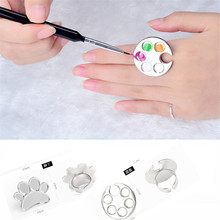hot deal buy  nail art tools drawing paint color palette nails manicure tools color palette ring cosmetic hand ring palette 1 pc