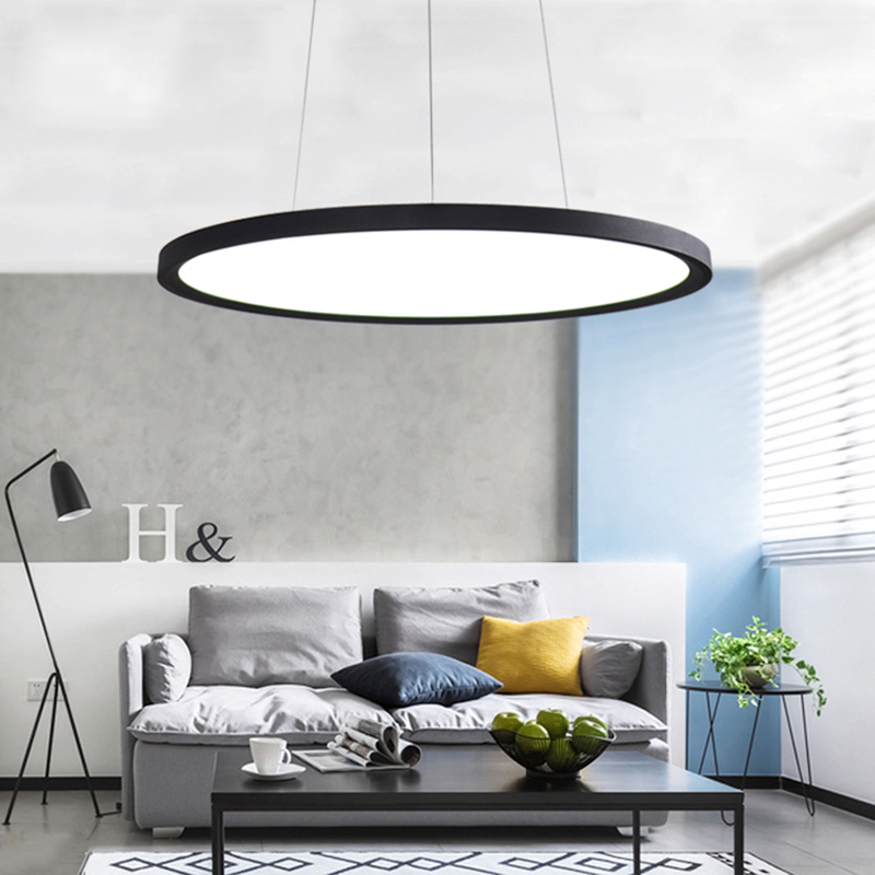 Modern creative simple modern high power LED chandelier living room bedroom dedicated slim panel lamp disc chandelier