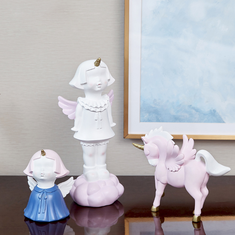 Europe resin unicorn angel Maiden heart miniature figurines tabletop fairy garden crafts Desk home accessories wedding gift in Figurines Miniatures from Home Garden