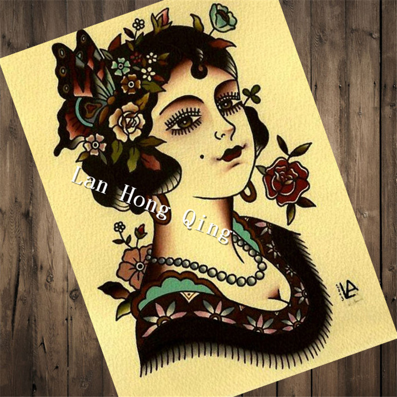 Hm 50 42x30cm vintage hairdresser tattoos kraft paper about stay sharp for wall sticker poster bar cafe barber shop wall in wall stickers from home