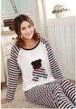 Venda melhor conforto simples de algodão pijamas para as mulheres primavera casual cor sólida pijama homewear Conjuntos de Pijama das mulheres