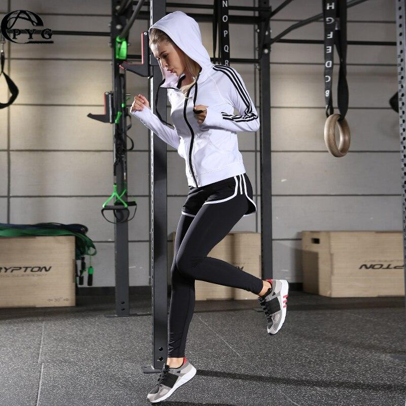 Yoga Sets 3 Pieces Fitness Yoga Running Jackets Black White Women's Workout Zipper Long Sleeve Sports Sweatshirts Top Yoga