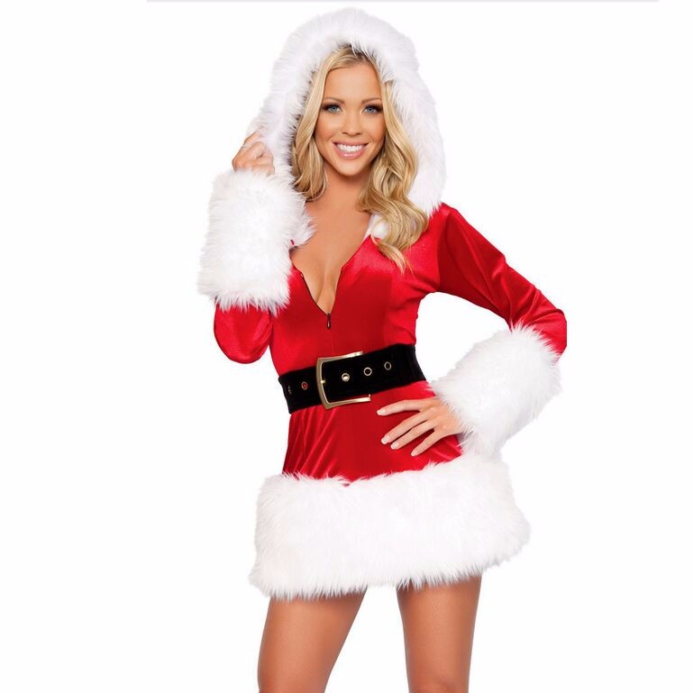Adult Women Christmas Velvet Santa Claus Costume XMAS Miss Santa Claus Sweet Sexy Outfit