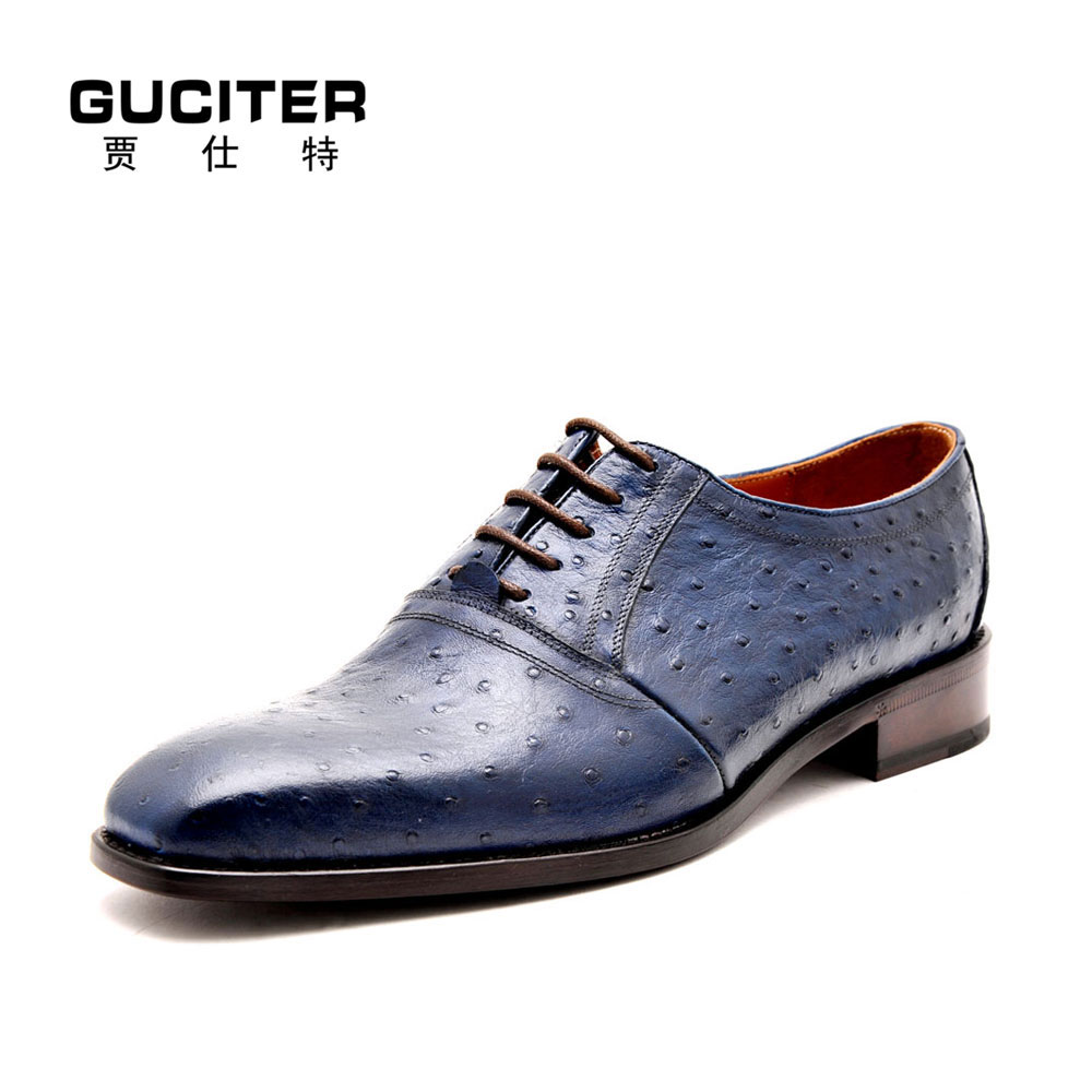 Goodyear welted leather font b shoes b font genuine Ostrich skin fashion italy luxury handmade font