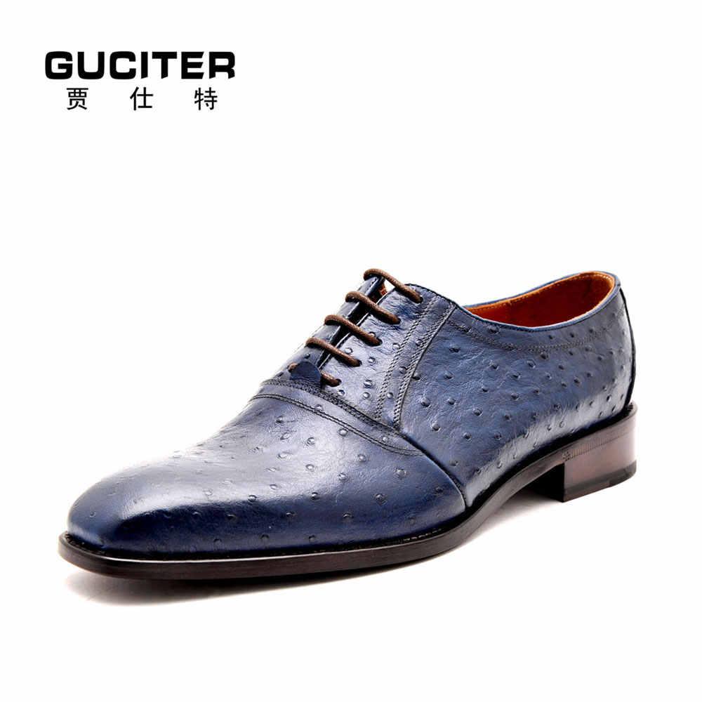 7c3aae80 Goodyear welted zapatos de cuero auténtica piel de avestruz moda lujo  Italia zapatos hechos a mano