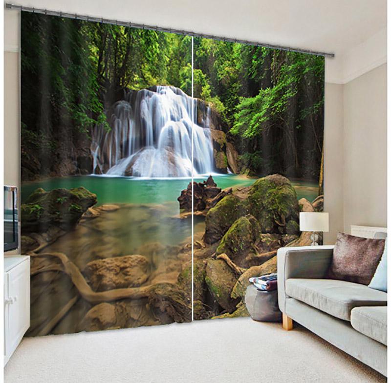 Anpassbare Grsse 3D Jungle Strom Muster Gedruckt Zimmer Verdunkelung Vorhnge Fenster Blackout Panel VorhngeChina