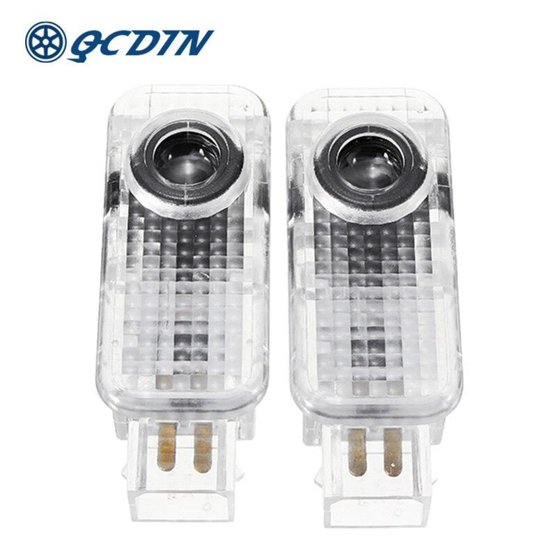 QCDIN 1 par para AUDI coche LED Bienvenido luz puerta logotipo lámpara de proyector para A1 A3 A4 A6 Q3 Q7 r8 TT RS S línea de instalación rápida